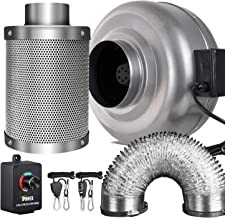 iPower 6 Inch 442 CFM Inline Fan Carbon Filter 25 Feet Ducting Combo with Variable Speed Controller and Rope Hanger for Grow Tent Ventilation