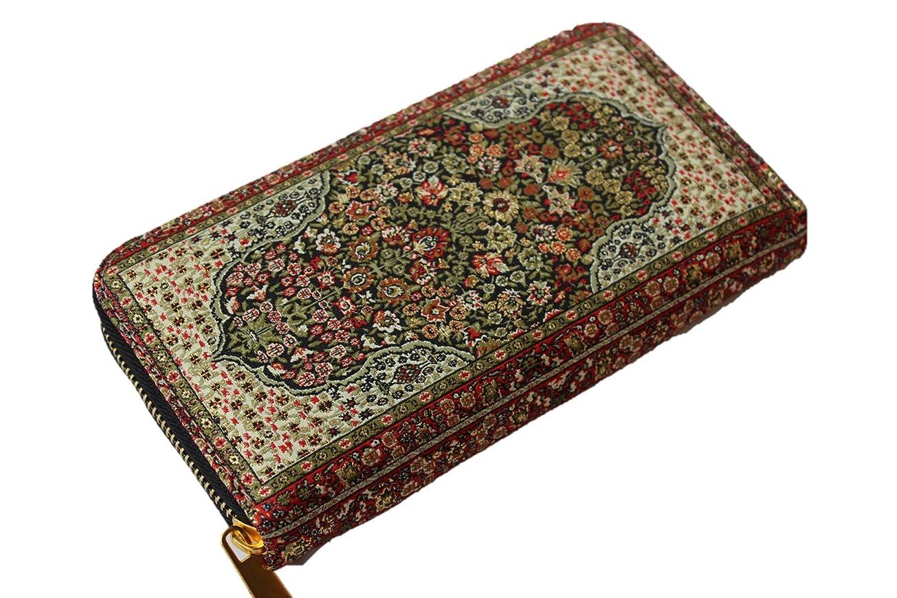前方へ適格不名誉な絨毯をモチーフにした刺繍の美しいファスナー付き長財布