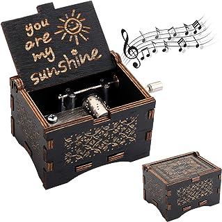 Sponsored Ad - WUWEOT Music Box Hand Crank Musical Box, U R My Sunshine Mechanism Antique Vintage Wood Carved Musical Box ...