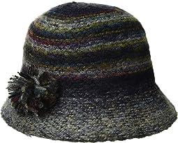 KNH3612 Marled Yarn Cloche w/ Yarn Pom