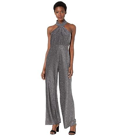 MICHAEL Michael Kors Twist Halter Neck Jumpsuit (Black/Silver) Women