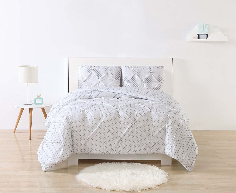 My World Printed Dot Pinch Pleat Kids Comforter Set, Full Queen, Grey