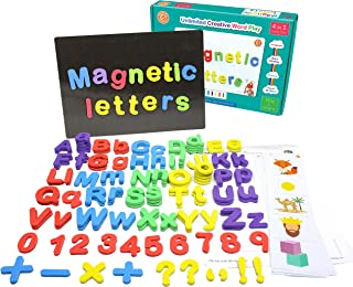 ButterflyEduFields 4in1 Fun Alphabet Words with 50 Pictures, 144 Letter Magnets (Capital & Small), Magnetic Board & Spelli...