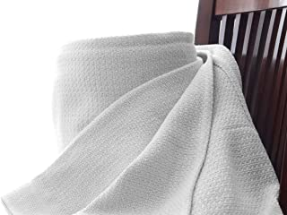 Organic Cotton Blanket   100% Cotton G.O.T.S Certified Weave Pattern   Lightweight, Soft, Breathable Bed Blanket   Home Decor Non Toxic Chemical Free & Natural Dye   Machine Washable (King, White)