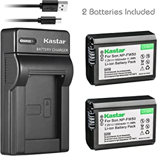 Kastar Battery (X2) & Slim USB Charger for NP-FW50 and Sony Alpha 6300 Alpha 6500 ILCE-QX1 Alpha 7 7R 7R II 7S a7R a7S a7R II a5000 a5100 a6000 a6300 NEX-7 DSC-RX10 DSC-RX10 II III 7SM2 ILCE-7R 7S