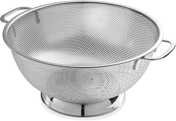Bellemain Micro Perforated Stainless Steel 5 Quart Colander Dishwasher Safe