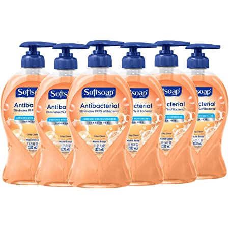 Softsoap Antibacterial Liquid Hand Soap, Crisp Clean - 11.25 Fluid Ounces (6 Pack)