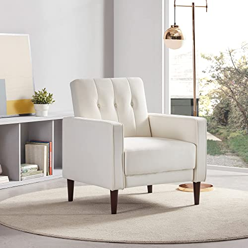 BELLEZE Valencia Accent Chair Mid-Century Tufted Upholstered Fabric Armchair, White