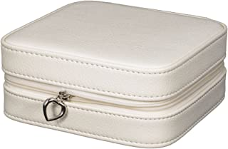 Faux Leather Jewelry Box in Ivory