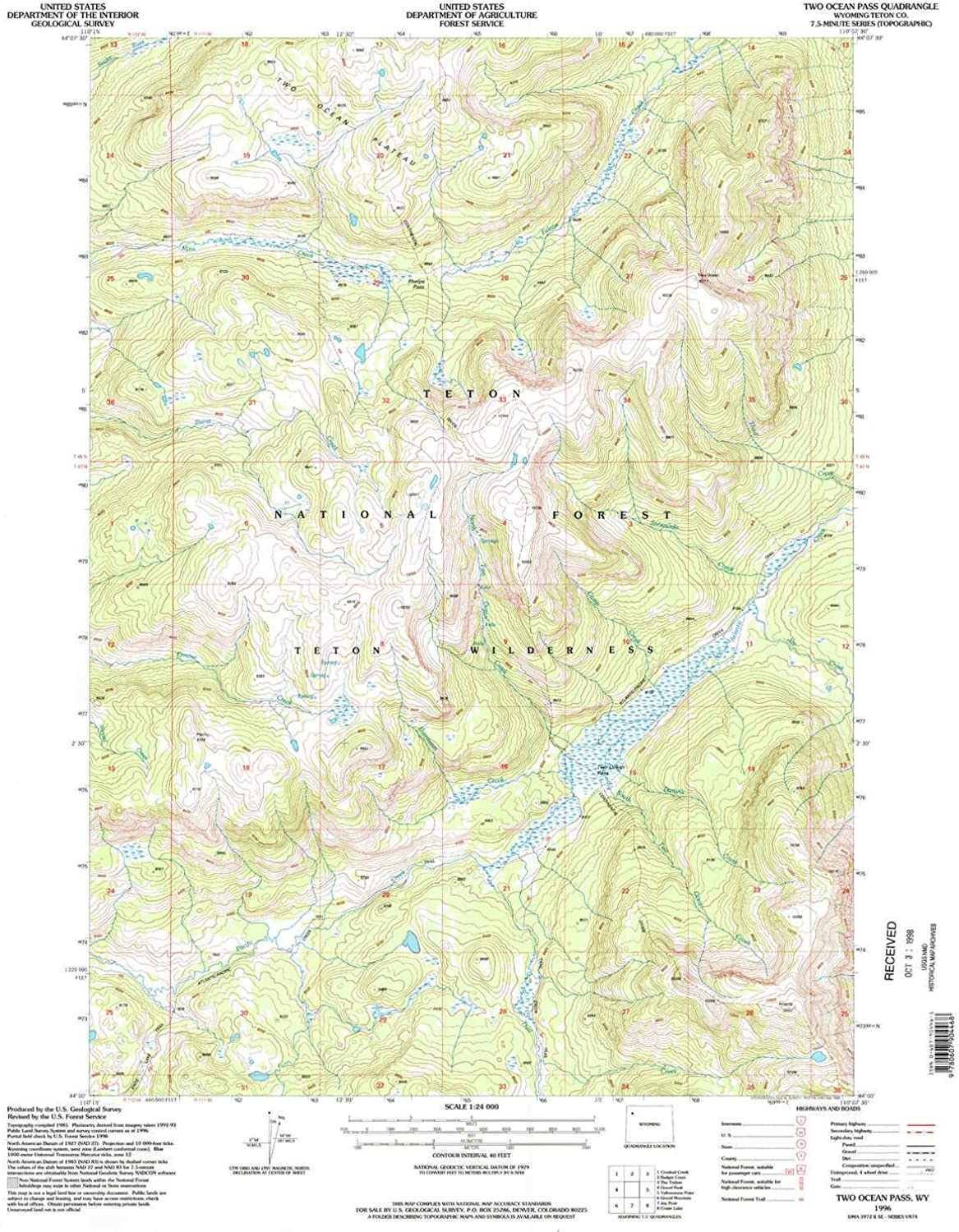 Two Ocean Pass WY topo map, 1 24000 Scale, 7.5 X 7.5 Minute, Historical, 1996, Updated 1998, 26.8 x 21.3 in