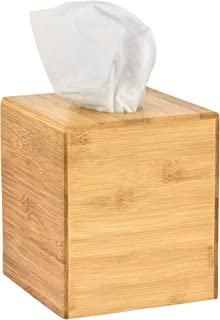 Alpine Industries Wooden Bamboo Square Tissue Box Cover - Eco Friendly Pull Cube Dispenser - Decorative Holder/Organizer for Bathroom, Office Desk & Car (Bamboo)