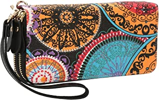 Women Zipper Wallet Purse Canvas Phone Card Holder with Coin Pocket and Strap (multi-colored