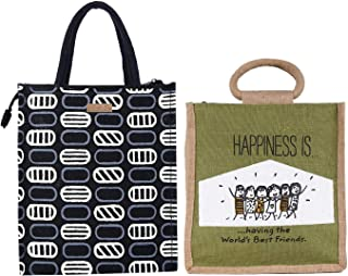 ECOTARA Elegant Eco-friendly Jute Lunch bag for Men & Women COMBO- Black & Olive