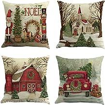 أغطية وسائد عيد الميلاد Mital 45.72 سم × 45.72 سم مجموعة من 4 أغطية وسادة من القطن زينة عيد الميلاد