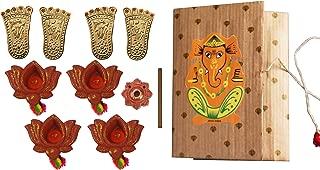 storeindya Diwali Decorations Gifts Set of 4 Earthen Diyas Dhoop Stick Holder Golden Laxmi Charan Paduka/Lakshmi Feet Combo Festive Offer Celebration Home Decor