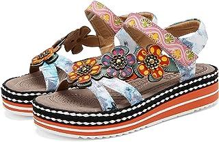 gracosy Kvinnoplattformssandaler damer sommar utomhus läder platt öppen tå promenadskor vintage handgjorda blommor skarvni...