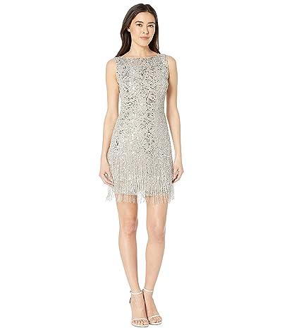 Adrianna Papell Petite Sleeveless Fringe Beaded Cocktail Dress (Silver) Women