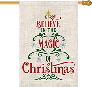 AVOIN Believe in The Magic of Christmas House Flag Vertical Double Sized, Winter Holiday Burlap Yard Outdoor Decoration 28 x 40 Inch