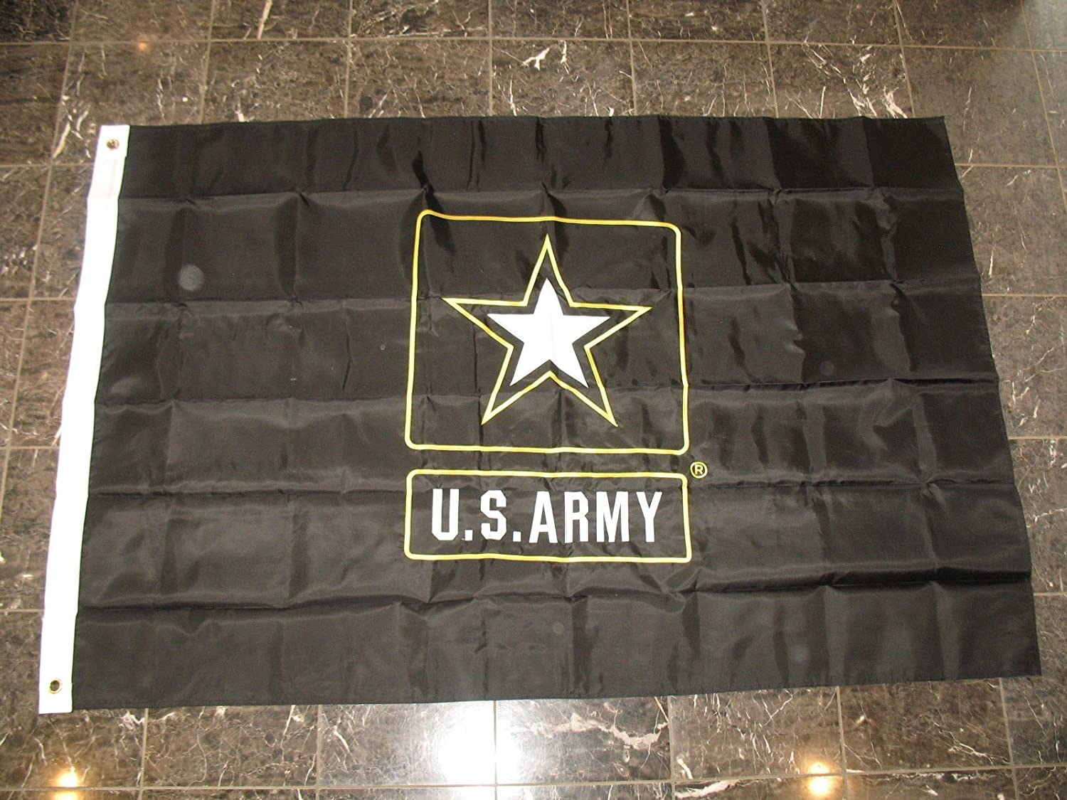 4X6 Embroidered Sewn Omaha Mall U.S. Gorgeous Black Army Star Sided Fla Double Nylon