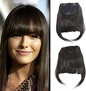 Deewin Brazilian Human Hair Clip-in Hair Bang Fringe Short Straight Hair Extension for Black Women 6-8inch (#2)