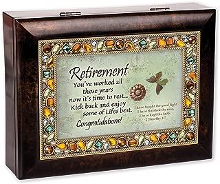 Retirement Burlwood Finish Jeweled Lid Jewelry Music Box Plays Tune Amazing Grace