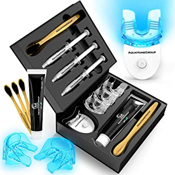 AquaHomeGroup Teeth Whitening Kit with LED Light - Deluxe Whitening Set with Charcoal Toothpaste and Brushes - Teeth Whitener System All Natural Carbamide Peroxide 3 X 3ml Gel Syringes