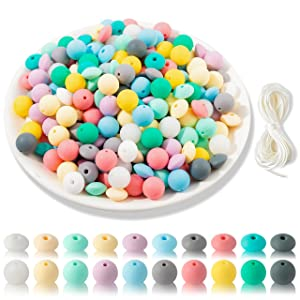 GROBRO7 251Pcs DIY Baby Silicone Beads Set Nursing Bead for Making Sensory Chewable Necklace Bracelet BPA Free Food Grade Teether Beads Jewelry Baby Accessory Kit for Toddlers Newborns Infants 12mm