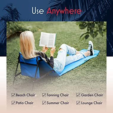 Beach Chairs For Adults Folding Lightweight (Set of 2) - Camping Chairs, Chaise Lounge Lawn Chairs For Outdoor Relaxing and S