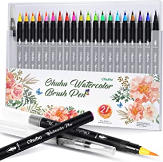 Ohuhu Watercolor Brush Markers Pen Set of 20, Water Based Drawing Marker Brushes W/ A Water Coloring Brush, Water Soluble for Adult Coloring Books Manga Comic Calligraphy, Back to School Art Supplies