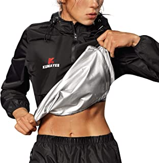 Kumayes Sauna Suit for Women Sweat Jacket Long Sleeve Sweat Suits Slimming Workout Waist Trainer Shirt Fitness Body Shaper...