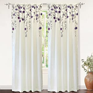 DriftAway Isabella Faux Silk Embroidered Window Curtain Embroidered Crafted Flower Lined with Thermal Fabric 2 Panels 50 Inch by 84 Inch Ivory Purple