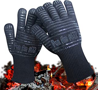 Oven Gloves 1472°F Extreme Heat Resistant (Cooking, BBQ, Grilling, Fireplace) with Double Layers Silicone Coating, 14