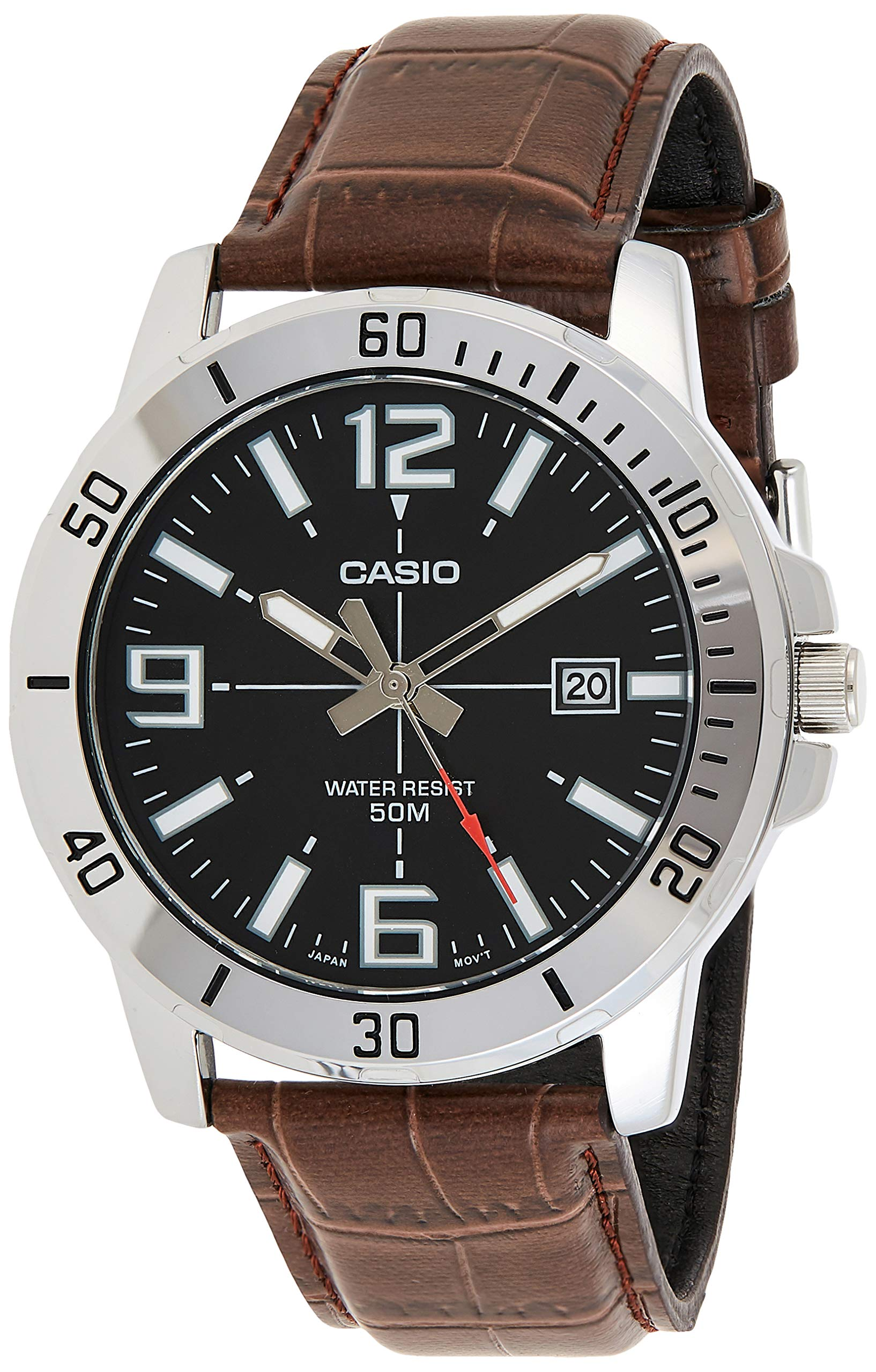 Leather Black Casual Watch For Men - MTP-VD01L-1BVUDF