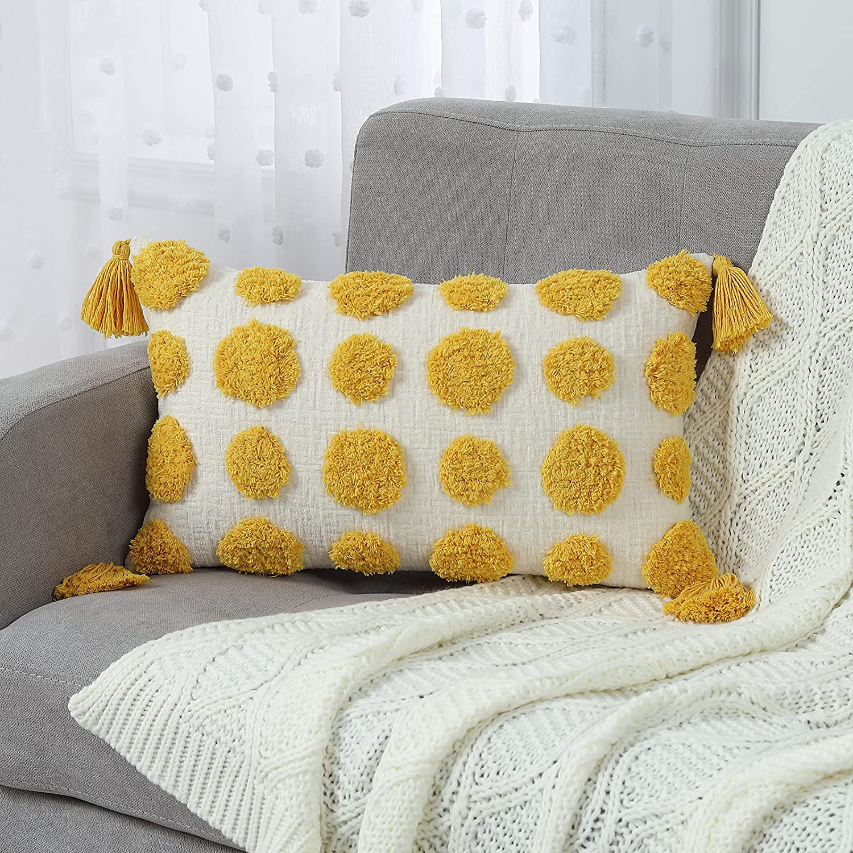 MingBo Yellow Lumbar Throw Pillow Decorative Cover depot Boho Tassel 5% OFF