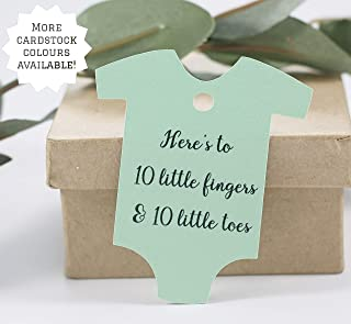 Neutral Shower Favor Tags - Here's to 10 Perfect Fingers and Toes in Light Green (Set of 20)