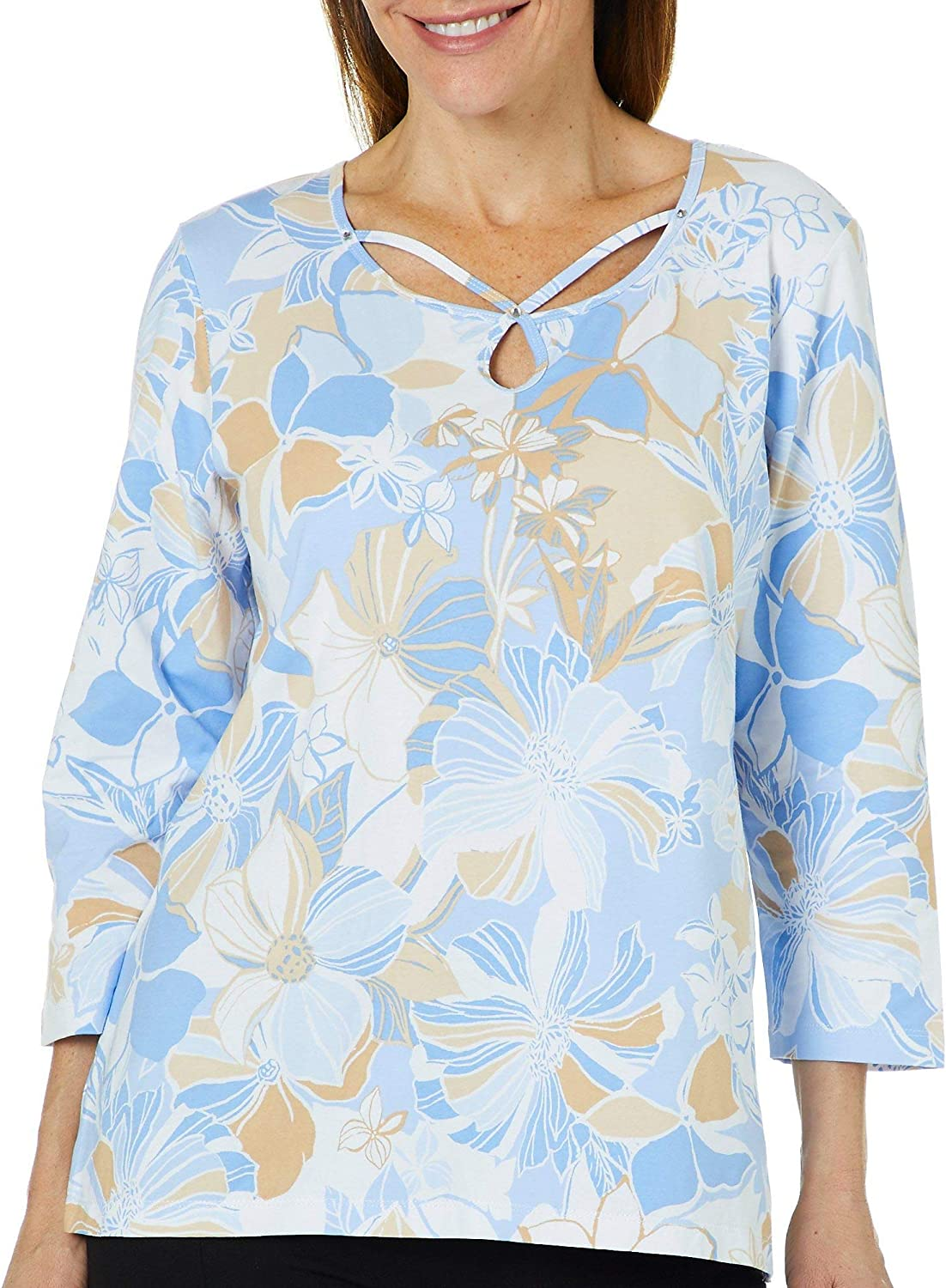 Alfred Dunner Womens Turtle Cove Floral Caged Neck Top