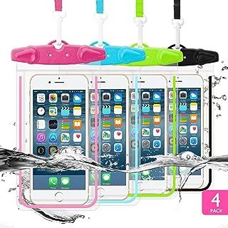 Universal Waterproof Case,WJZXTEK Waterproof Pouch Underwater Phone Case Dry Bag Snowproof Outdoor for iPhone Xs Max/Xr/Xs/X/8/8 Plus/7/7Plus,Samsung Galaxy S10 S9+,Note,6.5'',Luminous, 4 Pack