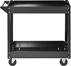 """Muscle Rack SC3016 Industrial Black Commercial Service Cart, Steel, 220Lbs Capacity, 33"""" width x 30.5"""" Height x 16"""" Depth, 2 Shelves, 30.5"""" Height, 33"""" width, 16"""" Length, 2-Level"""
