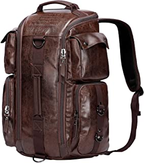 WITZMAN Outdoor Travel Duffels Backpack School Casual Daypack Canvas Rucksack (A6662, Nut Brown)
