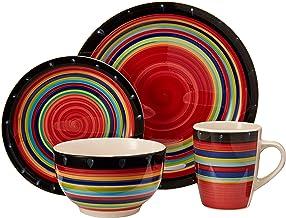 طقم أدوات المائدة هوم كاسا ستيلا من جيبسون، لون أحمر، 16 قطعة