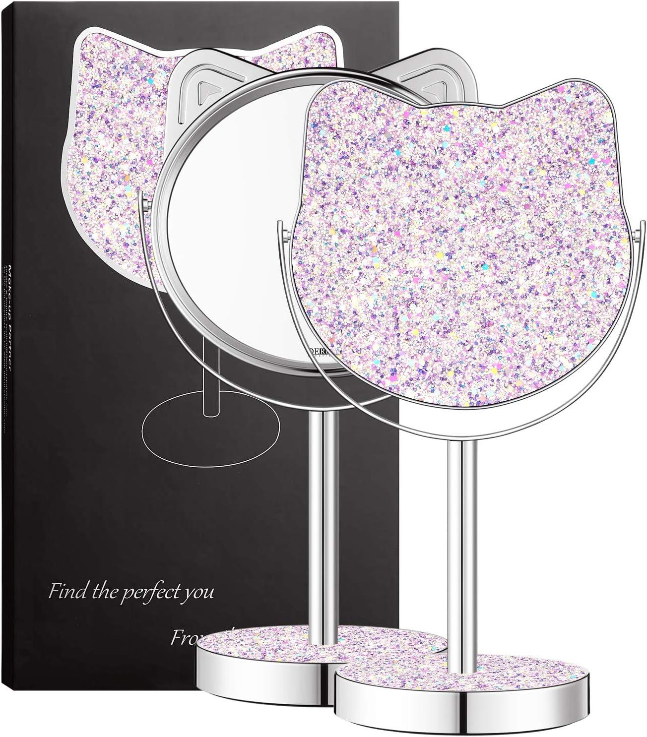 Makeup Mirror for Kids Girls Mirror Teenage Girls Gifts-360 Degree Rotation Kids Mirror by DERUI CREATION (Lilac)