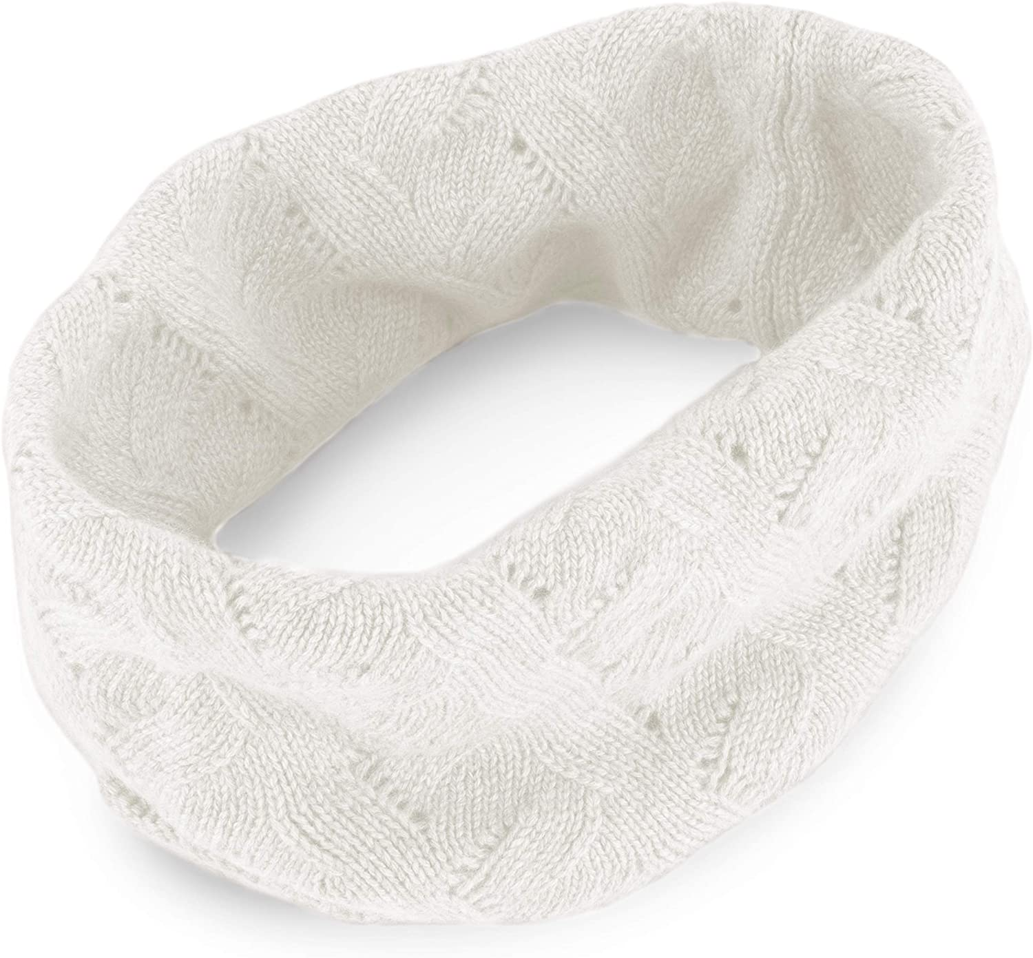 Love Cashmere Men's 100% Cashmere Infinity Scarf Snood - Ivory White - made in Scotland