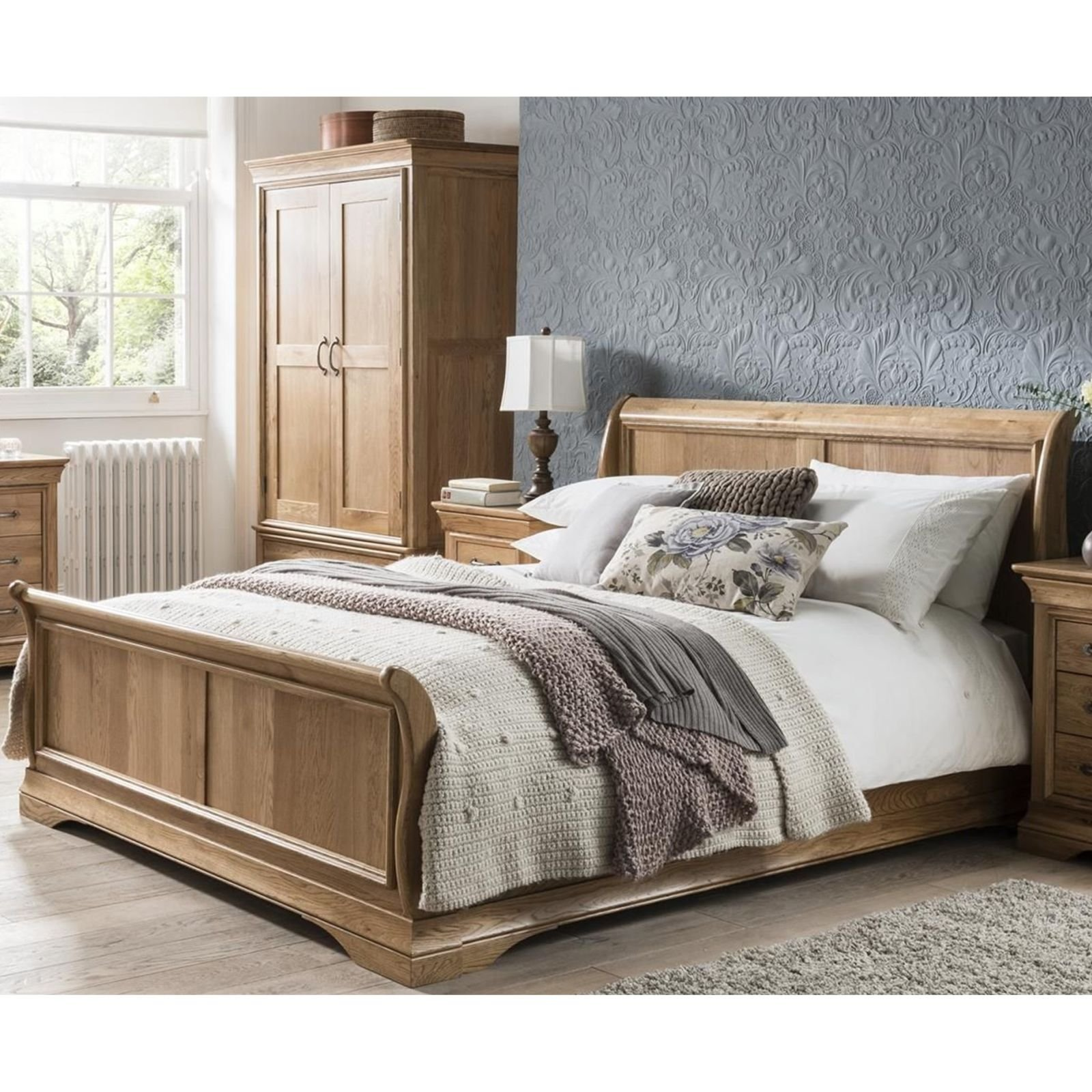 - French Solid Oak 5' King Size Sleigh Bed: Amazon.co.uk: Kitchen & Home