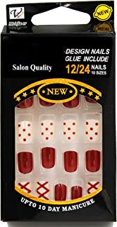 DALUCI 24 Pcs Simple Solid Different Colors Oval False Nail with Glue Stickers and Mini File (Design - 3)