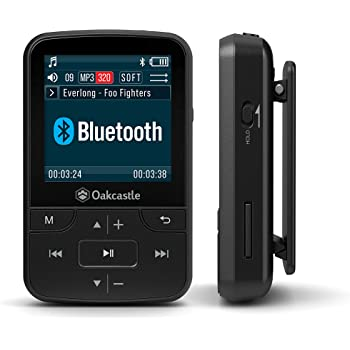Oakcastle MP100 16GB Mini Portable MP3 Player with Bluetooth, FM Radio, Micro SD slot, Headphones + Waterproof Case Included, Expandable up to 128GB, plays FLAC & WAV files, Ideal for Running & Sports