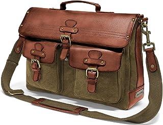 DRAKENSBERG Messenger Bag - Umhängetasche und 15 Laptoptasche für Herren im Retro-Vintage-Design, handgemacht in Premium-Qualität, 15L, Canvas und Leder, Olivgrün, DR00121