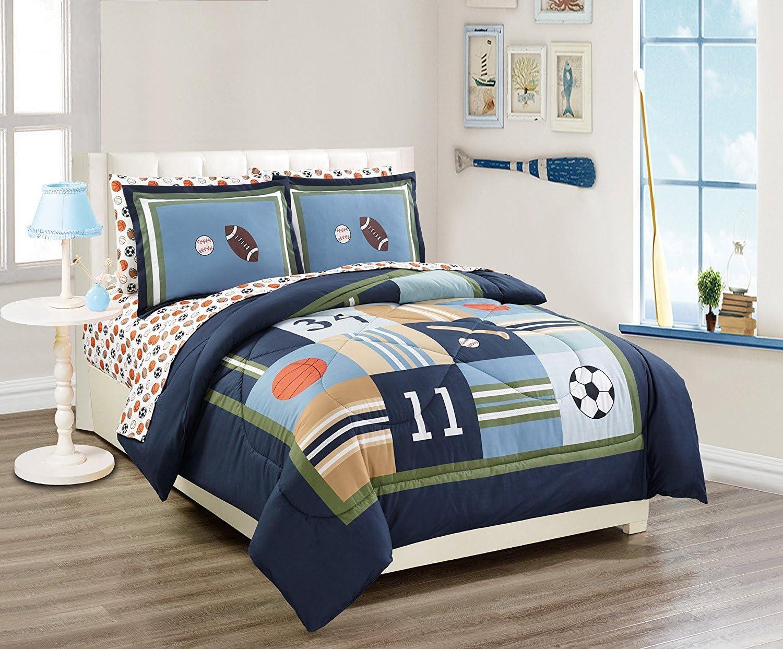 Linen Quantity limited Plus Full Bed Comforter Basket Set Cheap bargain Football Sport Baseball