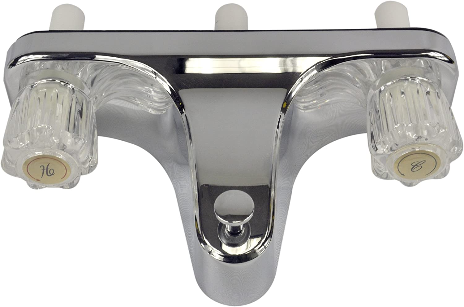 DANCO Mobile Home RV Tub Shower Center-Set Faucet, 8 inch, 2-Handle, Chrome with Clear Acrylic Handles (33156X)
