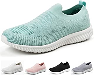 Akk Womens Athletic Shoes Lightweight - Memory Foam Slip On Tennis Sneakers Blue