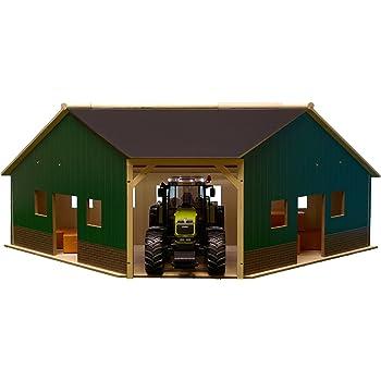 Kids Globe Spielzeug Bauernhof Schuppen Traktor Garage